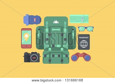 Travel tourism sightseeing accessory equipment flat vector