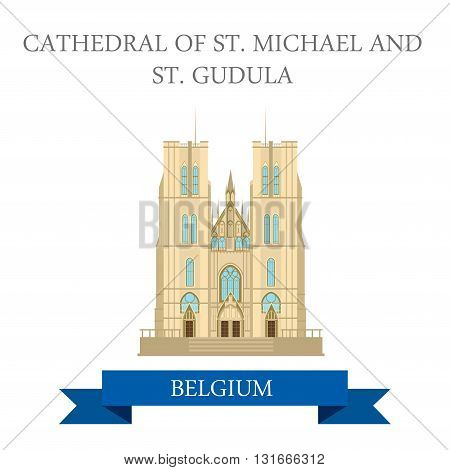 Cathedral St Mikhael Gudula Brussels Belgium flat vector sight