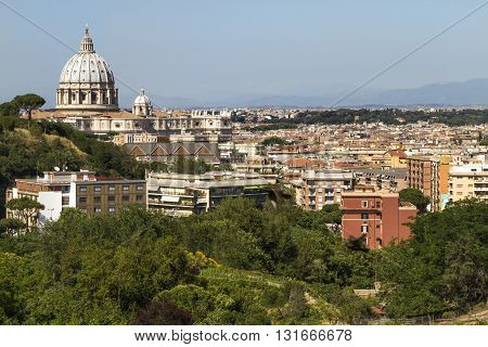 View of the Vatican from a hill in Rome