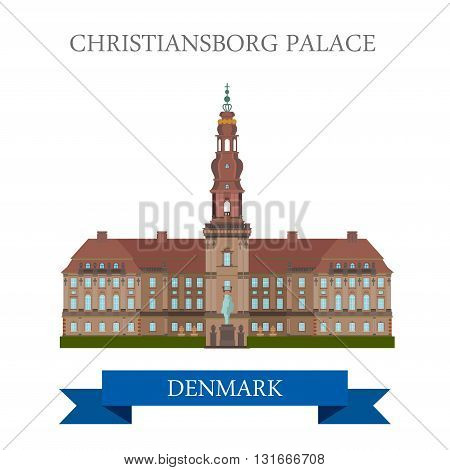 Christiansborg Palace Copenhagen Denmark flat vector attraction