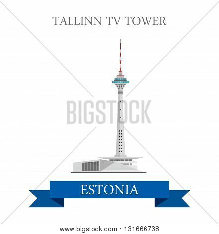 Tallinn TV Tower Estonia flat vector attraction sight landmark