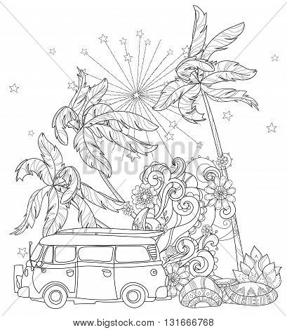 Hand drawn doodle outline palm tree, mini bus decorated with floral ornaments.Vector zen art illustration.Floral ornament.Sketch for tattoo, poster or adult coloring pages.Boho style.