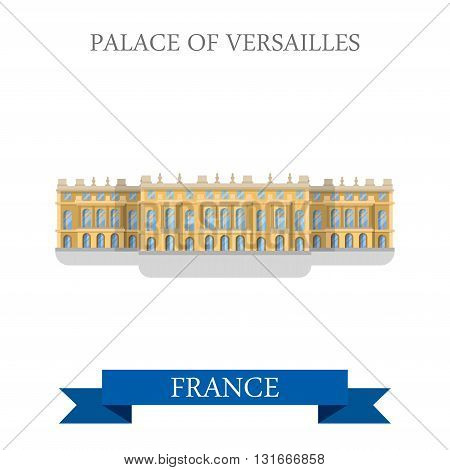 Palace of Versailles in France flat vector attraction landmark
