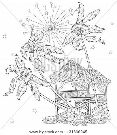 Hand drawn doodle outline palm tree, fairy cartoon city , fireworks decorated with floral ornaments.Vector zen art illustration.Sketch for tattoo, poster or adult coloring pages.Boho style.