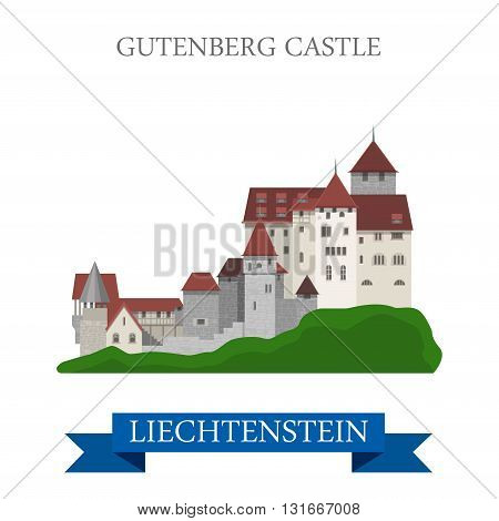 Gutenberg Castle in Liechtenstein flat vector attraction