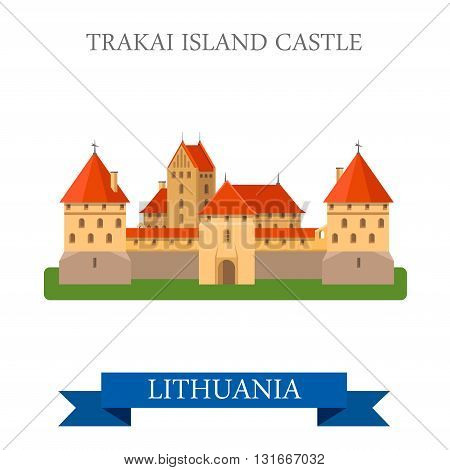 Trakai Island Castle Lithuania flat vector attraction sight