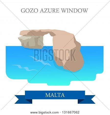 Gozo Azure Window Malta flat vector attraction sight landmark
