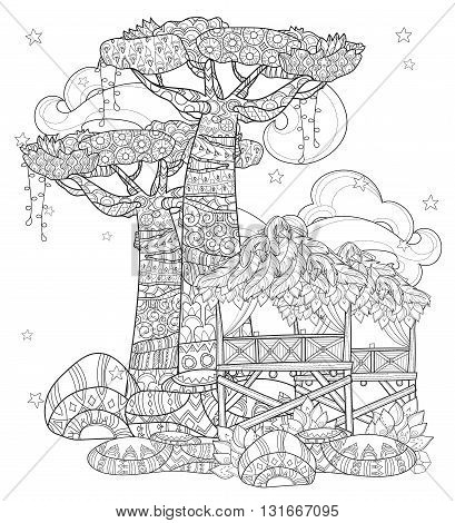 Hand drawn doodle outline baobab tree, fairy cartoon city , decorated with floral ornaments.Vector zen art illustration.Sketch for tattoo, poster or adult coloring pages.Boho style.