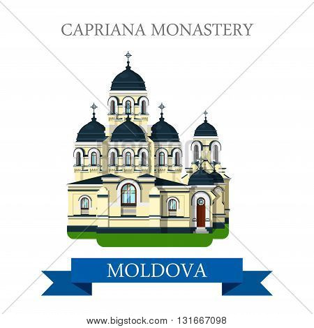 Capriana Monastery Europe Moldova flat vector attraction sight