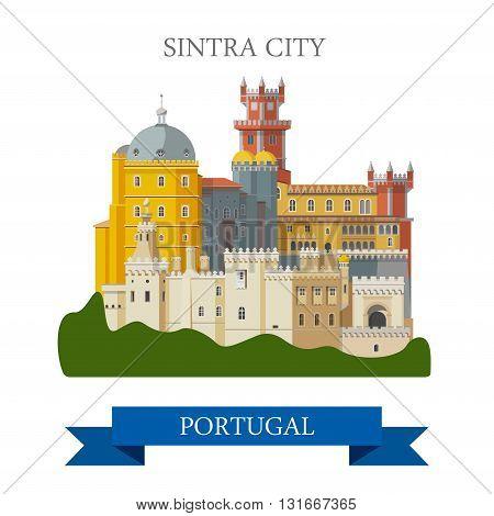 Sintra City in Portugal Europe flat vector attraction landmark