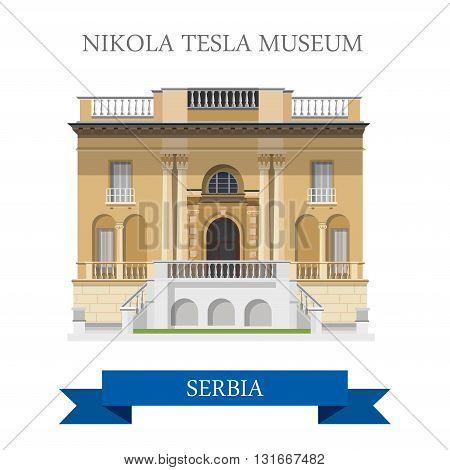 Nikola Tesla Museum Belgrade Serbia flat vector attraction sight