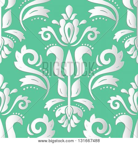 Seamless oriental ornament. Fine vector traditional oriental pattern with 3D elements, shadows and highlights
