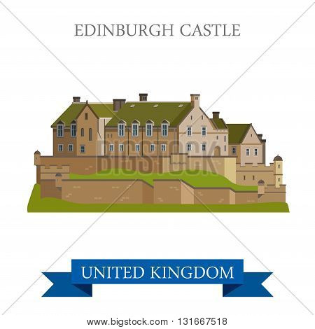 Edinburgh Castle Scotland United Kingdom flat vector attraction