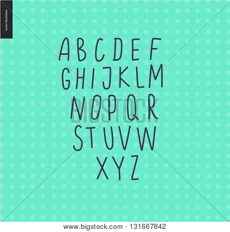 Vector handwritten uppercase latin alphabet on the mint geometrical pattern background