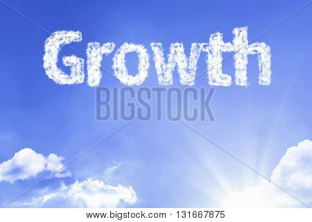 Growth cloud word with a blue sky