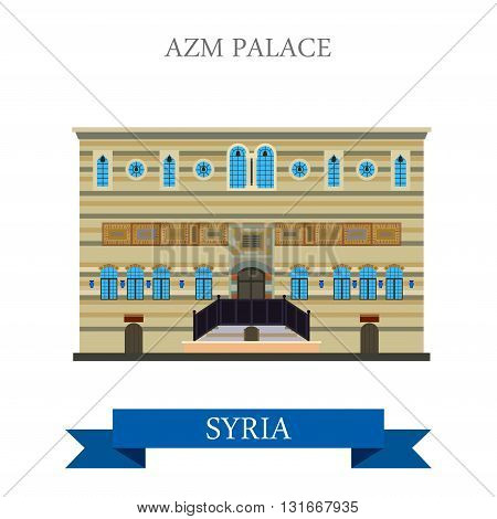 Azm Palace Damascus Syria vector flat attraction travel