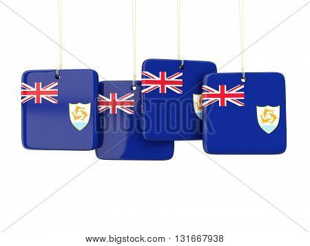 Square Labels With Flag Of Anguilla