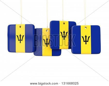 Square Labels With Flag Of Barbados