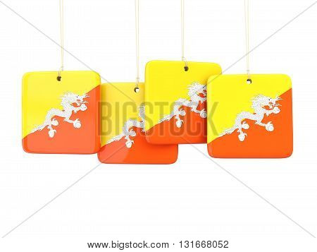 Square Labels With Flag Of Bhutan