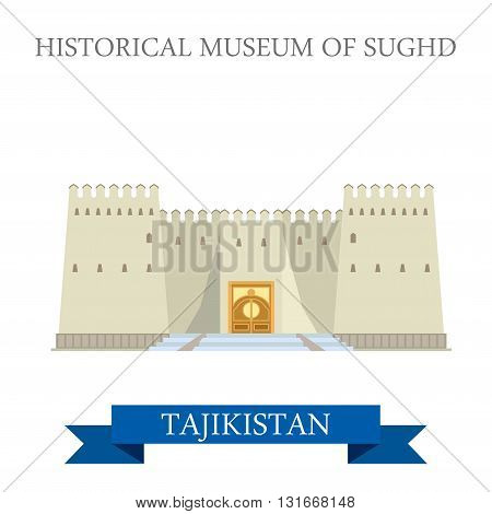 Historical Museum Sughd Tajikistan vector flat attraction