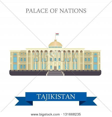 Palace of Nations Dushanbe Tajikistan vector flat attraction
