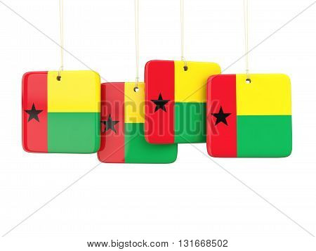 Square Labels With Flag Of Guinea Bissau