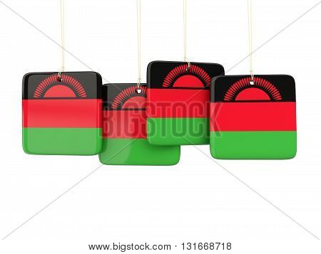 Square Labels With Flag Of Malawi