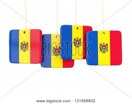 Square Labels With Flag Of Moldova