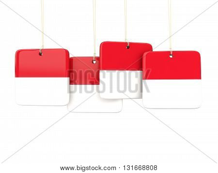 Square Labels With Flag Of Monaco