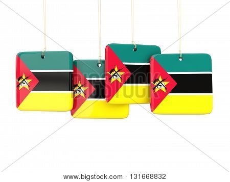 Square Labels With Flag Of Mozambique