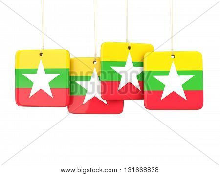 Square Labels With Flag Of Myanmar