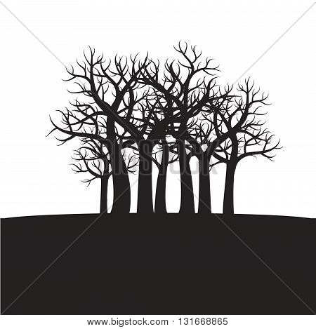 Shape of Black Trees. Vector Illustration and Graphic elements.