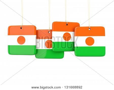 Square Labels With Flag Of Niger