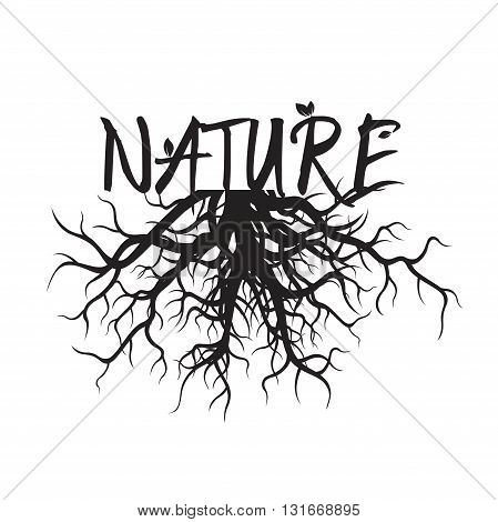 Shape of Black Roots and text Nature. Vector Illustration.