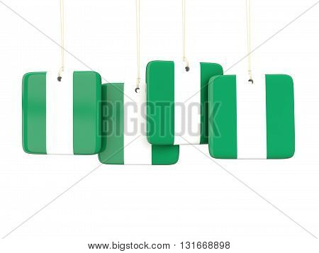 Square Labels With Flag Of Nigeria