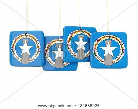 Square Labels With Flag Of Northern Mariana Islands