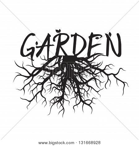 Shape of Black Roots and text Garden. Vector Illustration.
