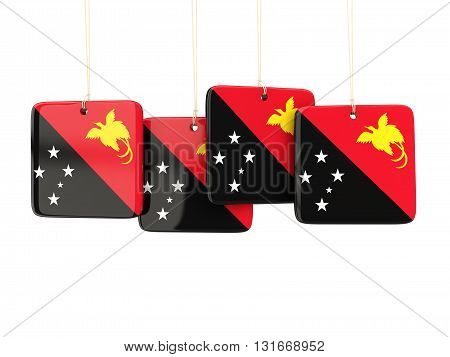 Square Labels With Flag Of Papua New Guinea