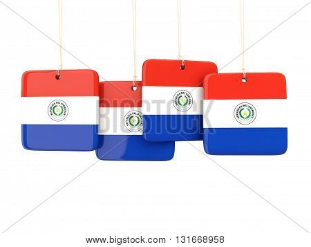 Square Labels With Flag Of Paraguay