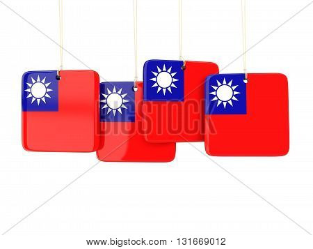 Square Labels With Flag Of Republic Of China