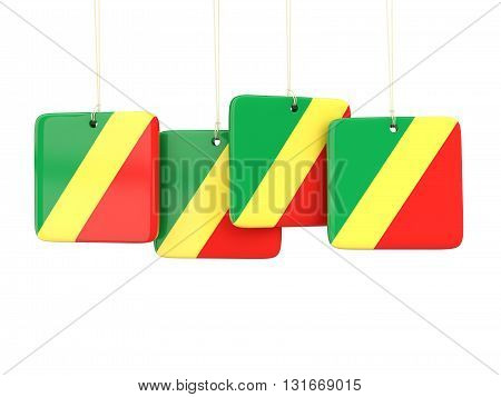 Square Labels With Flag Of Republic Of The Congo
