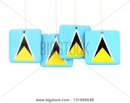 Square Labels With Flag Of Saint Lucia