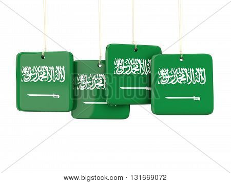 Square Labels With Flag Of Saudi Arabia