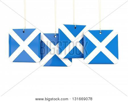 Square Labels With Flag Of Scotland