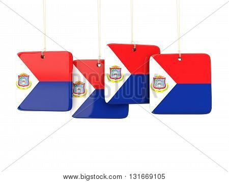 Square Labels With Flag Of Sint Maarten