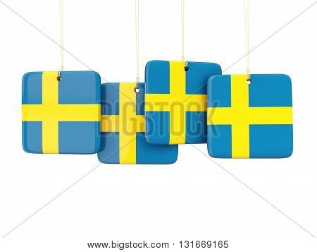 Square Labels With Flag Of Sweden