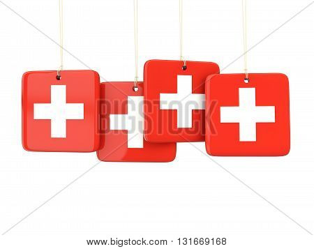 Square Labels With Flag Of Switzerland