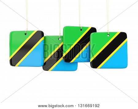 Square Labels With Flag Of Tanzania