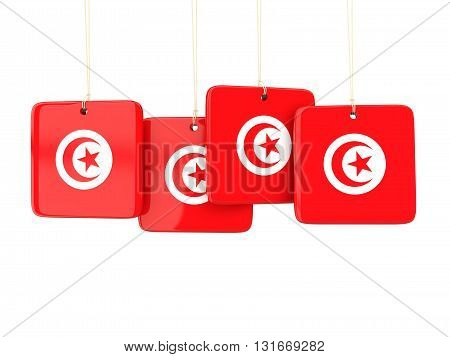 Square Labels With Flag Of Tunisia