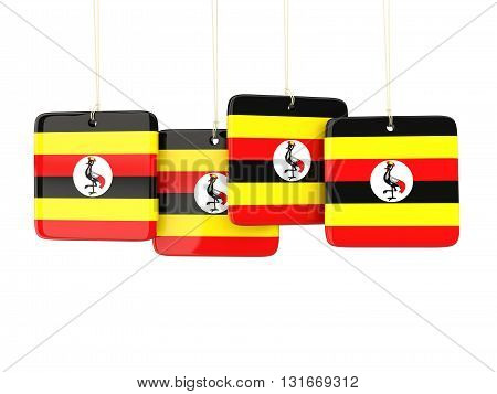 Square Labels With Flag Of Uganda